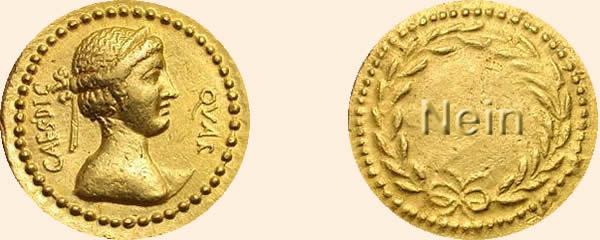 Münzorakel Julius Caesar Goldmünze Ihr Ja Nein Orakel Mit Münzen